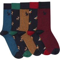 Mens animal embroidered socks multi coloured designs cotton rich blend five pair pack  - Multicolour