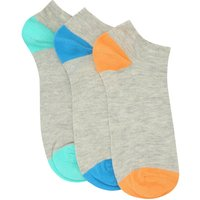 Mens colour block trainers socks three pack  - Grey Marl