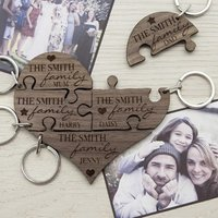 Personalised Our Family Heart Jigsaw Keyring - Jigsaw Gifts