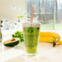 Smoothie Recipe Glass with Straw and Lid - Glass Gifts