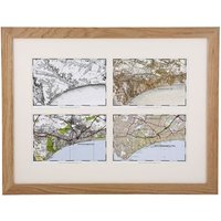 Personalised Four OS Maps in a Light Oak Frame - Maps Gifts
