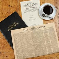 Original Antique Times Newspaper in Leather Folder - Books Gifts