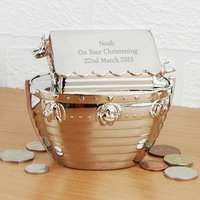 Personalised Silver Noah's Ark Money Box - Money Box Gifts
