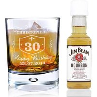 Personalised Whisky Glass & Bourbon Miniature Set - Bourbon Gifts