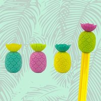 Totally Tropical Pineapple Pencil Eraser Toppers - Pineapple Gifts