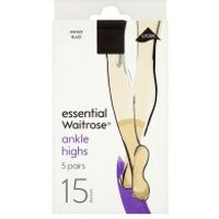 essential Waitrose black ankle high tights, pack of 5