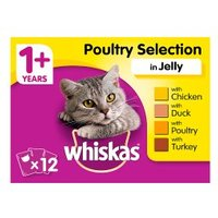 WHISKAS 1+ Cat Pouches Poultry Selection in Jelly 12 x 100g Pack