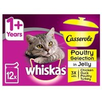 WHISKAS 1+ Cat Pouches Casserole Poultry Selection in Jelly 12 x 85g