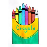 Crayola Retro Crayons Packet Pop Art Painting On Unframed A4 Paper