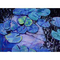 Water Lily Study in Blue