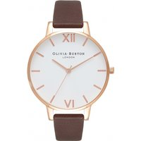 Image of Ladies Olivia Burton White Dial Big Dial Chocolate & Rose Gold Watch OB16BDW32