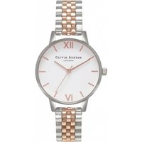 Image of Ladies Olivia Burton White Dial Midi Dial Rose Gold & Silver Watch OB16MDW25