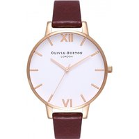 Image of Ladies Olivia Burton White Dial Big Dial Burgundy & Rose Gold Watch OB16BDW33