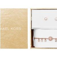 Ladies Michael Kors Rose Gold Plated Bracelet and Earring Gift Set MKJ6897791