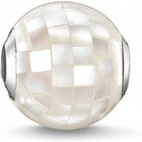 Ladies Thomas Sabo Sterling Silver Karma Beads White Mother Of Pearl Faceted Bead K0129-029-14