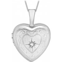 Jewellery Essentials 12mm Diamond Set Heart Locket JEWEL AJ-12142546