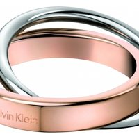 Image of Ladies Calvin Klein Two-Tone Steel and Rose Plate Size J Coil Ring KJ63BR010105