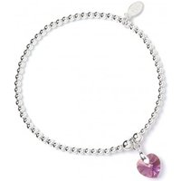 Rose Swarovski Crystal Heart with Sterling Silver Ball Bead Bracelet