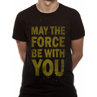 Star Wars - Force Text Men's Small T-Shirt - Black