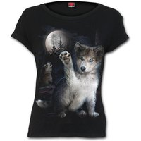 Wolf Puppy Women's Large Boatneck Cap Sleeve Top - Black