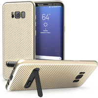 Samsung Galaxy S8 Plus Carbon Fibre Textured Gel Case with Kickstand - Gold