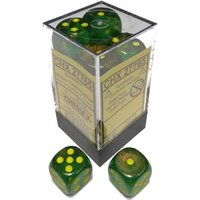 Chessex 16mm d6 Dice Block: Borealis Maple Green/yellow
