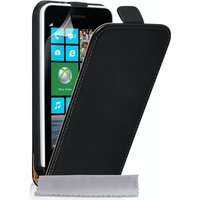 YouSave Accessories Nokia Lumia 630 Real Leather Flip Case - Black