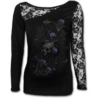 Entwined Skull Women's X-Large Lace One Shoulder Top - Black