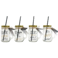 Glass Jar with Straw Pack Of 8