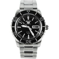 Seiko SNZH55K1 Mens Automatic Watch Silver Bracelet with Black Dial