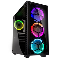 Kolink Observatory Full Tower 1 x USB 3.0 / 2 x USB 2.0 Tempered Glass Side & Front Window Panel Black Case with RGB LED...
