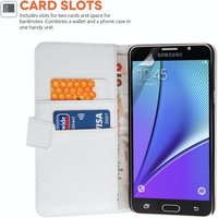 Samsung Galaxy Note 5 Leather-Effect Wallet Case - White