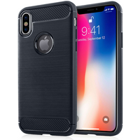 Apple iPhone X Carbon Fibre TPU Case Silicone Cover - Blue