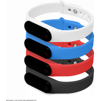 GO-TCHA Wristband for Pokemon Go with Strap 4 Pack (Black/Blue/Red/White)