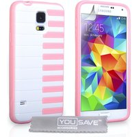 YouSave Accessories Samsung Galaxy S5 Piano Case - Pink-White