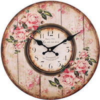 Distressed Look Pink Rose Paris 1921 Wall Clock