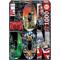 England London City Collage 1000 Pieces Jigsaw Puzzle