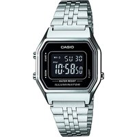 'Casio La680wea/1b Unisex Chronograph Digital Watch Black Dial Silver