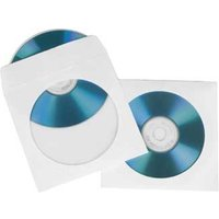 Hama CD/DVD Protective Paper Sleeves, white, pack of 50