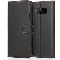Samsung Galaxy S8 PU Leather Stand Wallet Case - Black