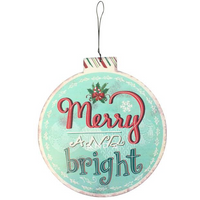 Large Merry & Bright Bauble Metal Hanger