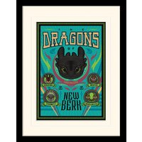 How To Train Your Dragon - The Dragons Of New Berk Mounted & Framed 30 x 40cm Print