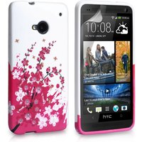 YouSave Accessories HTC One Floral Bee Gel Case - Pink-White