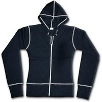 Urban Fashion Cream Zip Cream Stitch Women's Medium Hoodie - Black