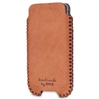 SOX Western Genuine Leather Hand Made Mobile Phone Pouch for iPhone/Samsung and more, Large, Brown (SOX KWES 02 L)