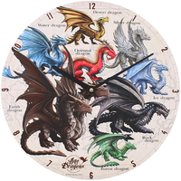 Dragons of The World Wall Clock by Anne Stokes