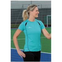 Ladies S/Sleeve Running Shirt Turquoise and Black UK Size 8 32inch