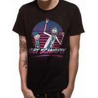 Rick And Morty - Get Schwifty Sunset Men's Large T-Shirt - Black