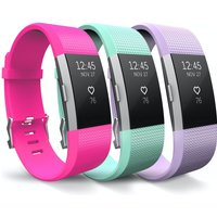 Yousave Fitbit Charge 2 Strap 3-Pack - Hot Pink/Mint Green/Lilac Small