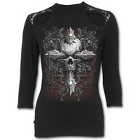 Cross of Darkness Women's X-Large Lace Shoulder 3/4 Sleeve Top - Black